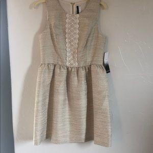 NWT Kenzie gold metallic A line dress